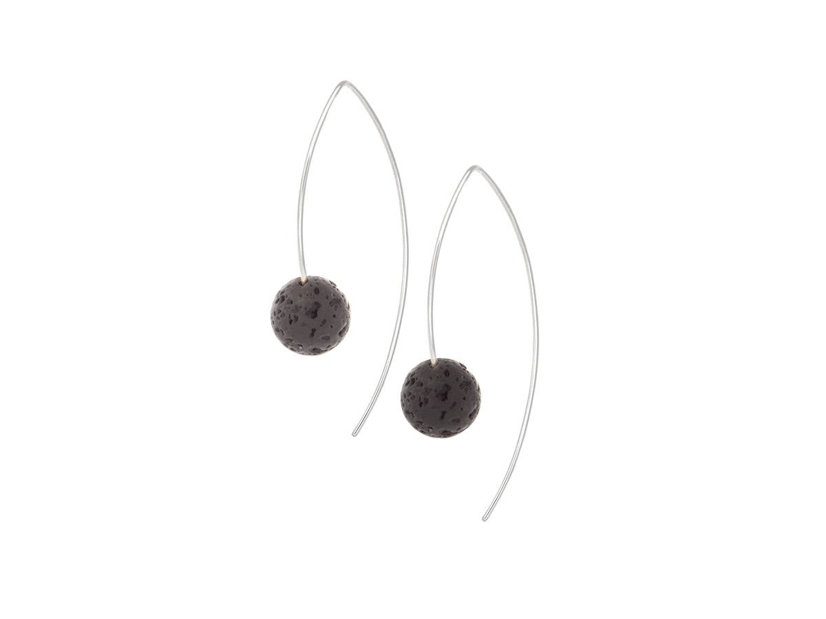 Element Simple Black Lava Rock Drop Earrings Silver