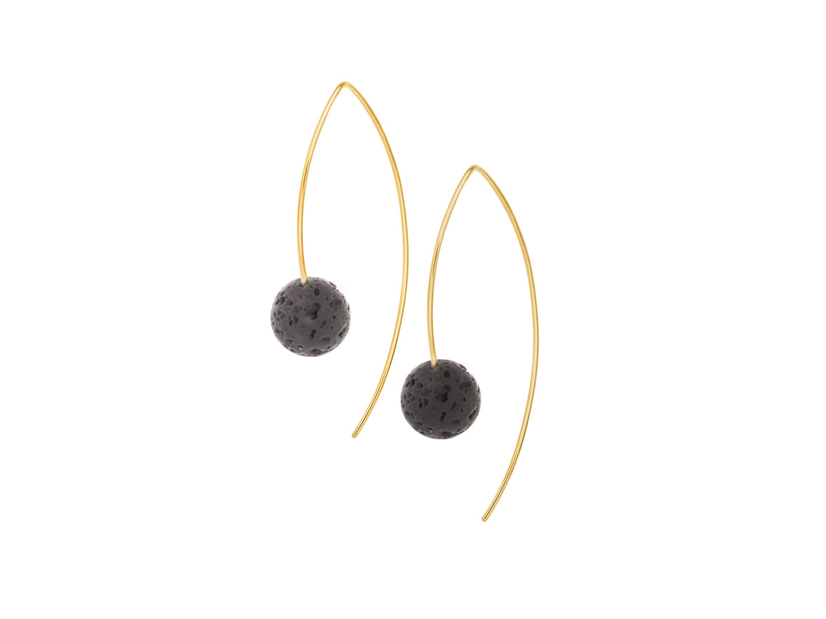 Element Simple Black Lava Rock Drop Earrings Gold Filled