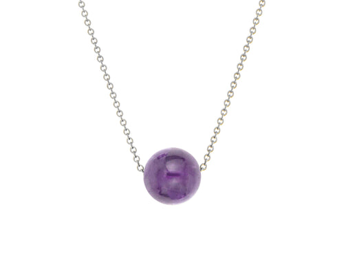 Pamela Lauz - Element Amethyst Simple Slide Necklace Silver