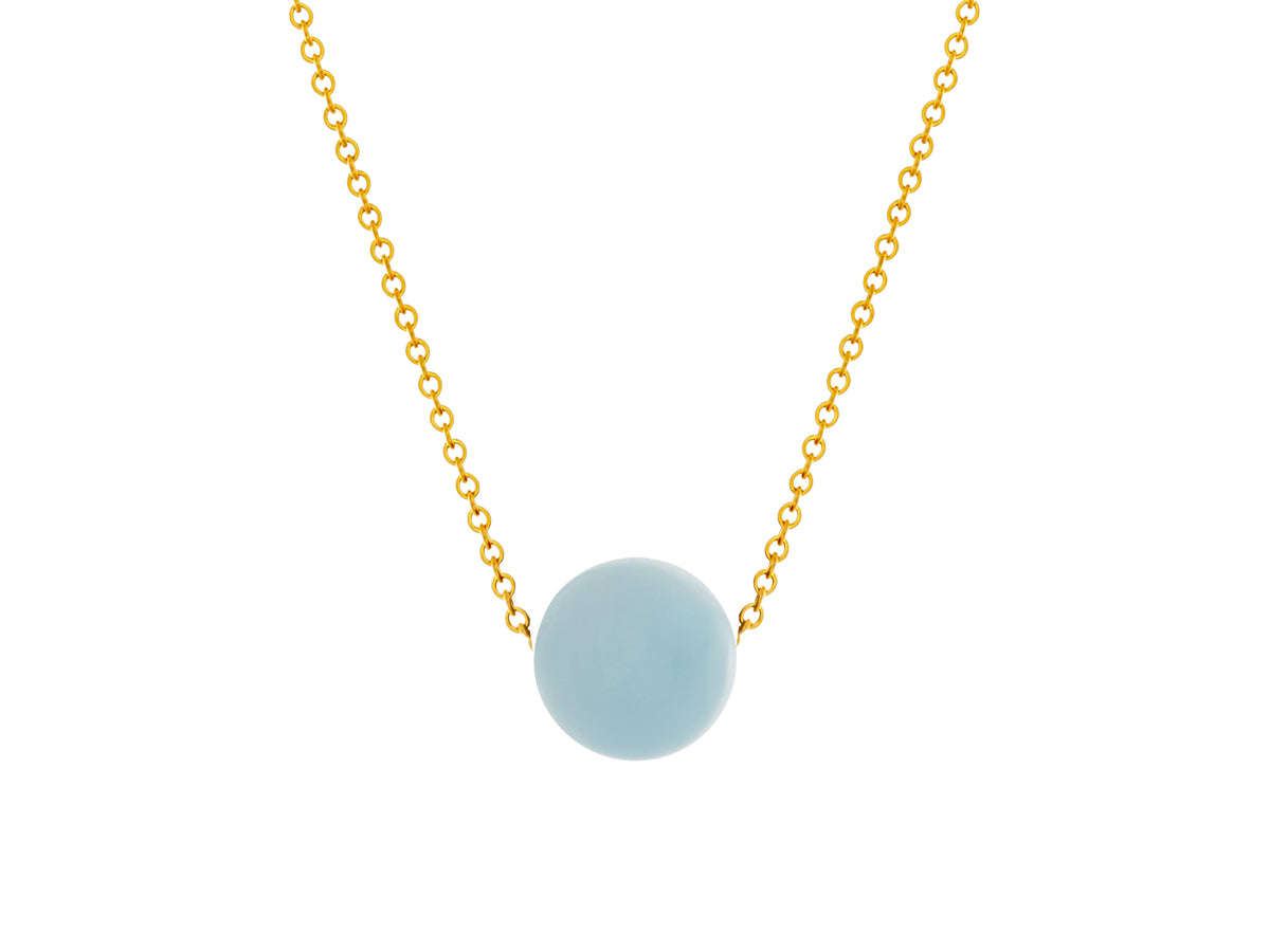 Aquamarine Simple Slide Necklace Gold filled
