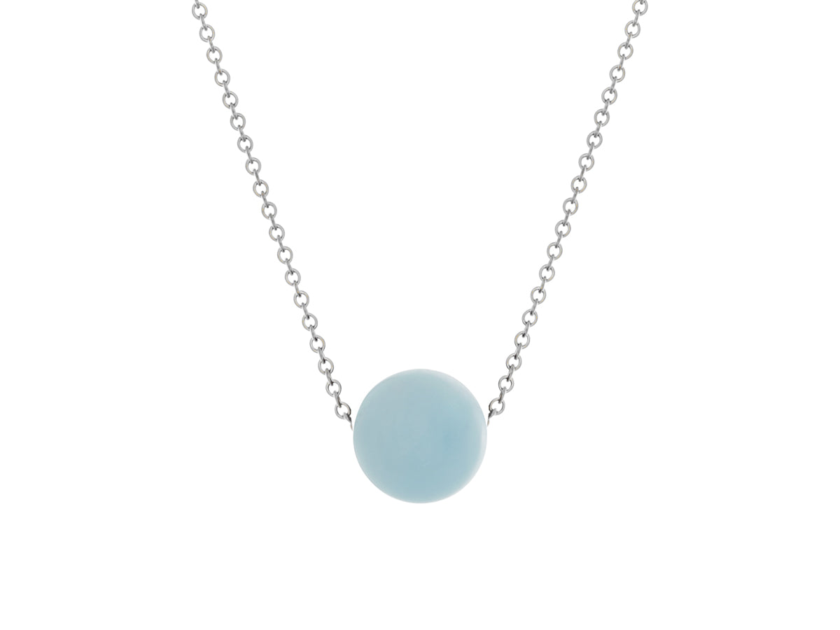 Aquamarine Simple Slide Necklace Silver