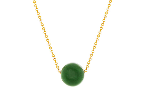 Pamela Lauz - Element Green BC Jade Nephrite Simple Slide Necklace Gold