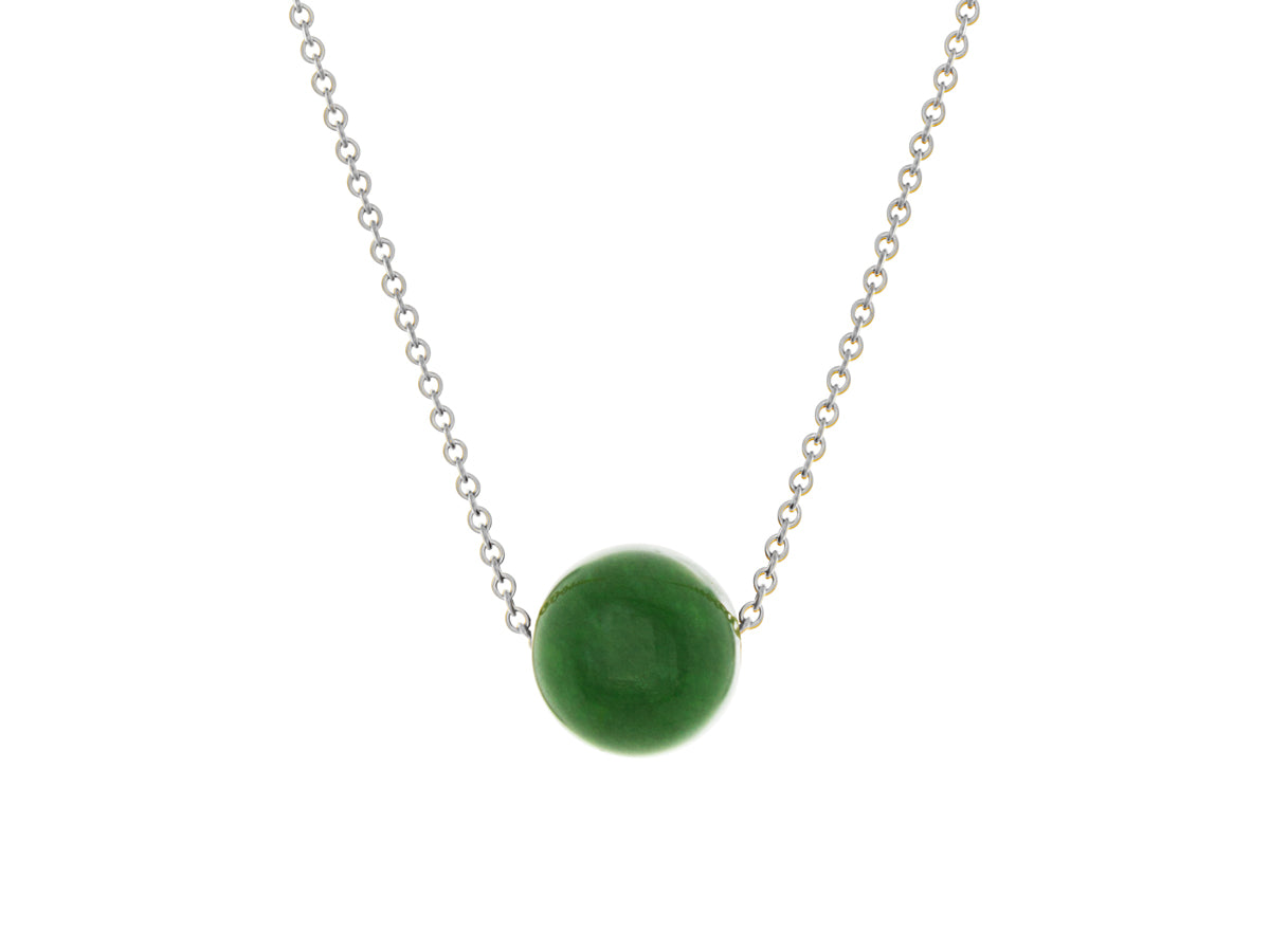 BC Jade Nephrite Simple Slide Necklace Silver