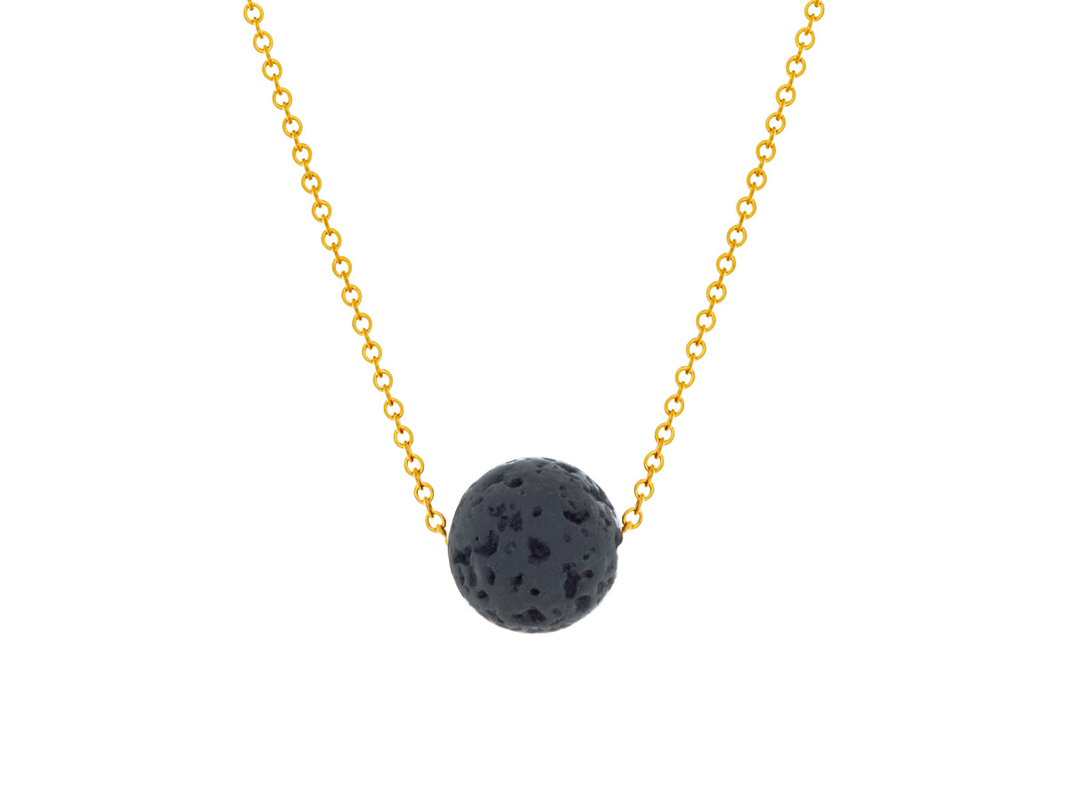 Lava Rock Ball Slide Necklace Goldfilled