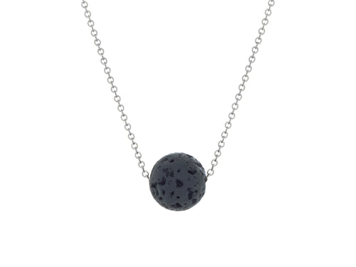Lava Rock Ball Slide Necklace Silver