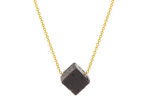 Lava Rock Cube Simple Slide Necklace Goldfilled