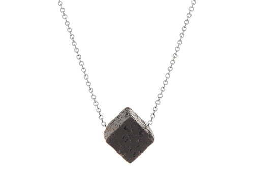 Lava Rock Cube Simple Slide Necklace Silver