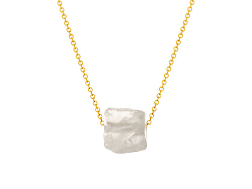 Rock Crystal Quartz Simple Slide Necklace Goldfilled