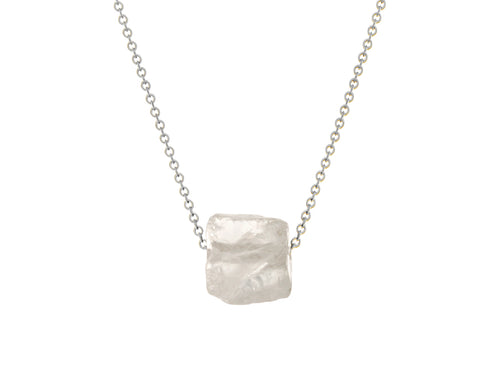 Rock Crystal Quartz Simple Slide Necklace Silver