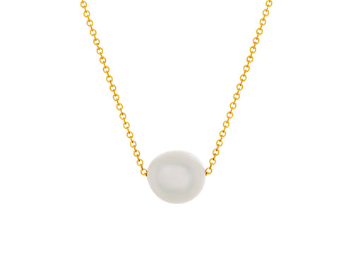 Pamela Lauz - Element White Freshwater Pearl Simple Slide Necklace Gold