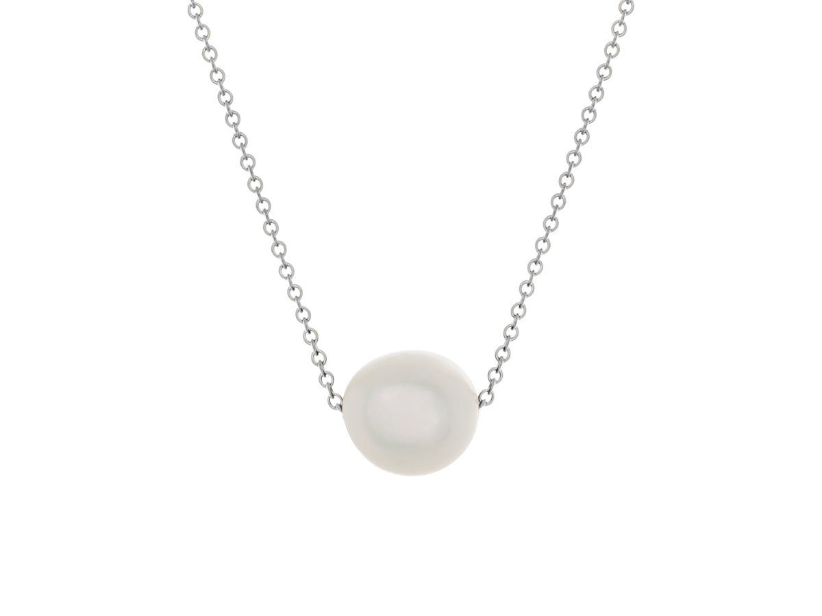White Freshwater Pearl Simple Slide Necklace Silver