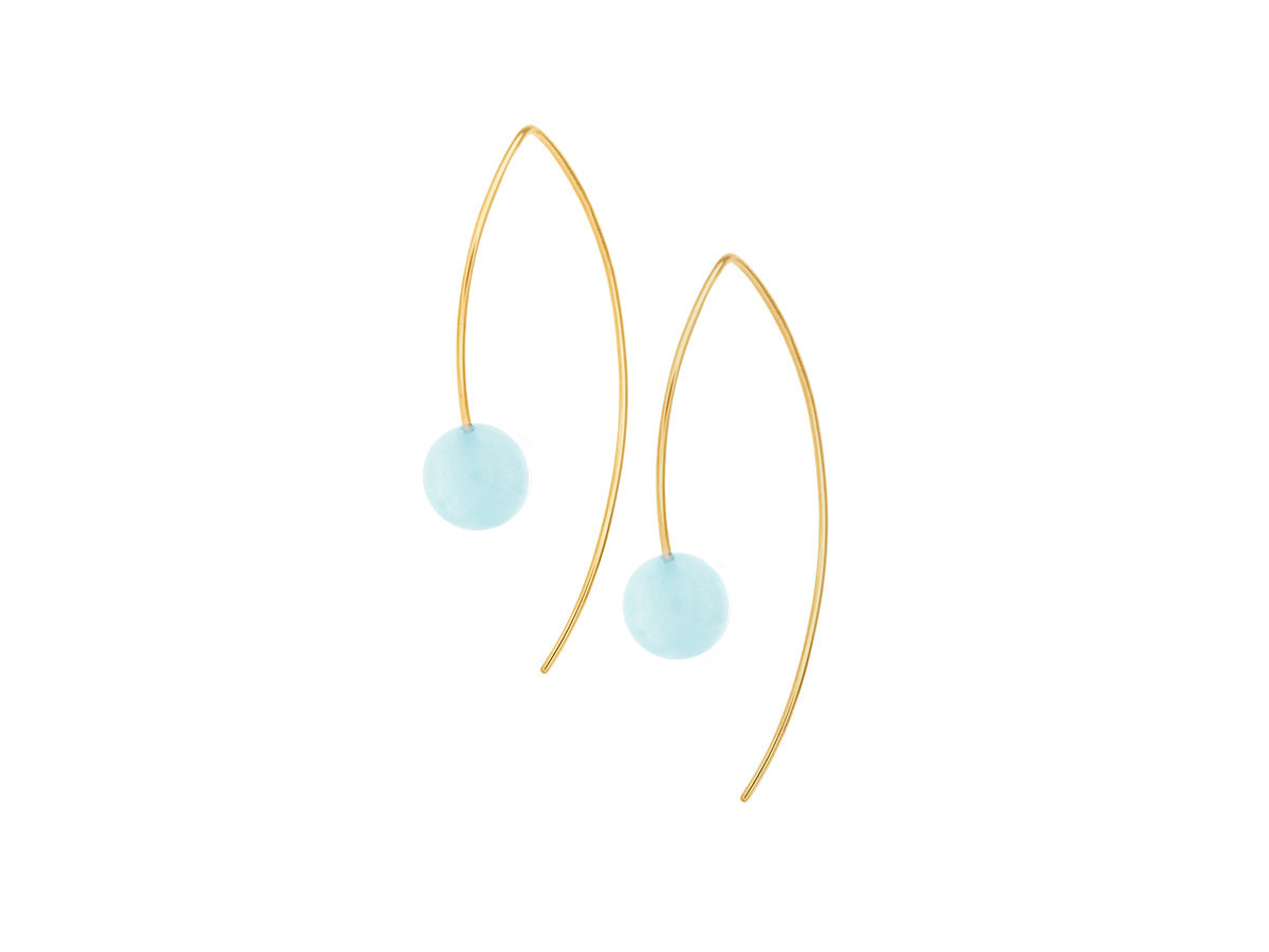 Element Simple Blue Aquamarine Drop Earrings Gold Filled
