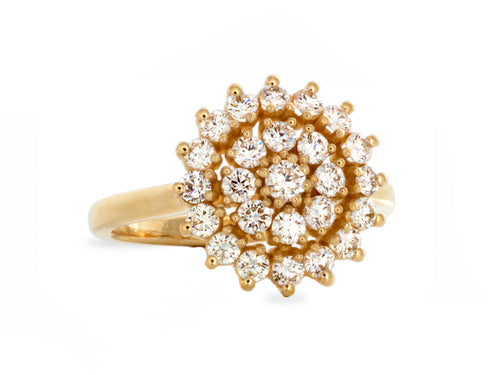 Vintage Cluster Diamond Yellow Gold Engagement Ring