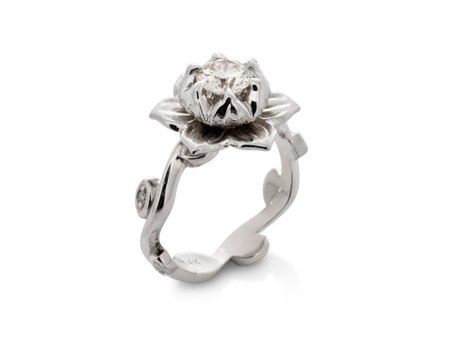 Lotus Flower Diamond Wedding Rings