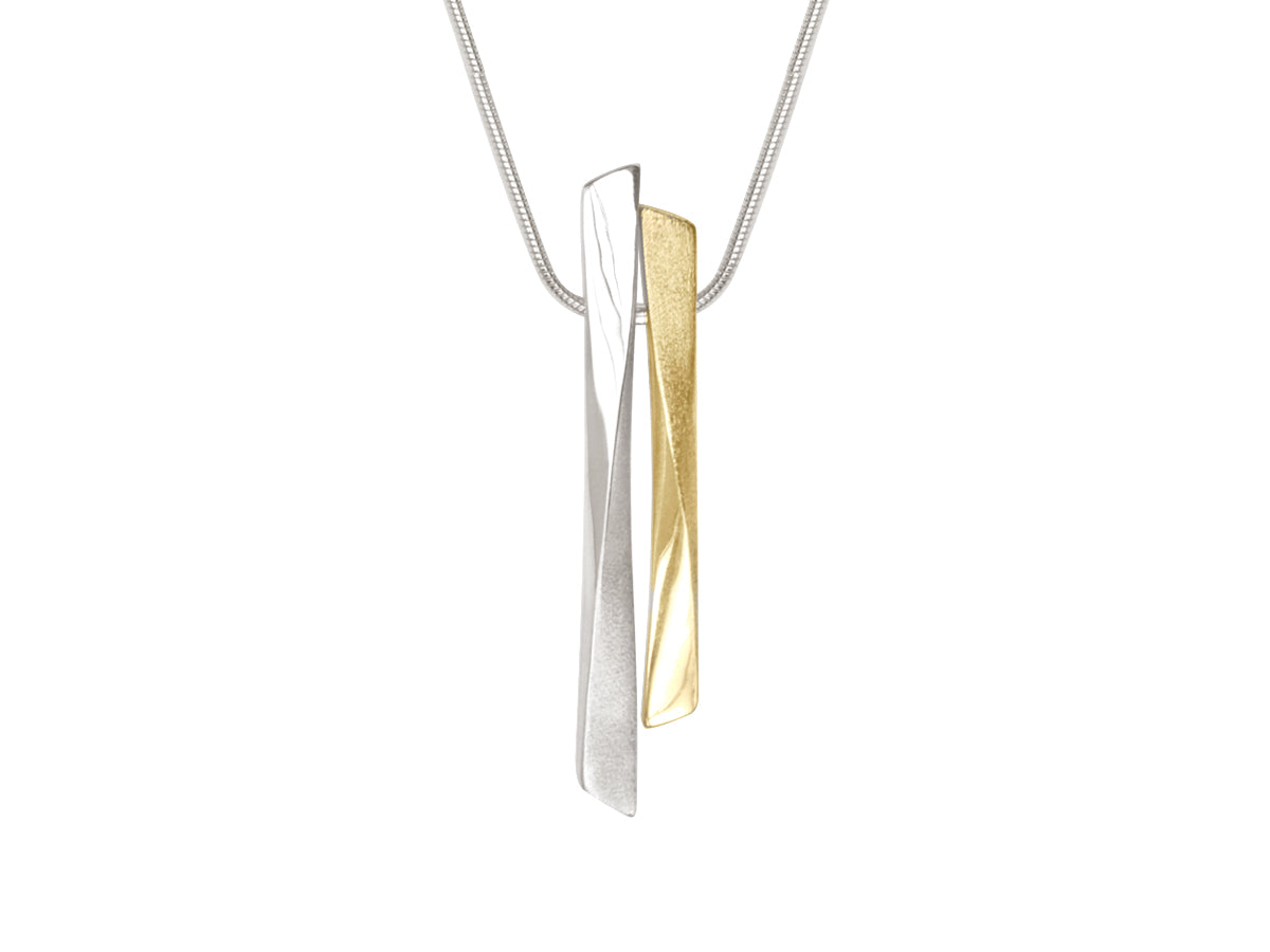 Grass Twisted Double Bar Silver and Bronze Necklace