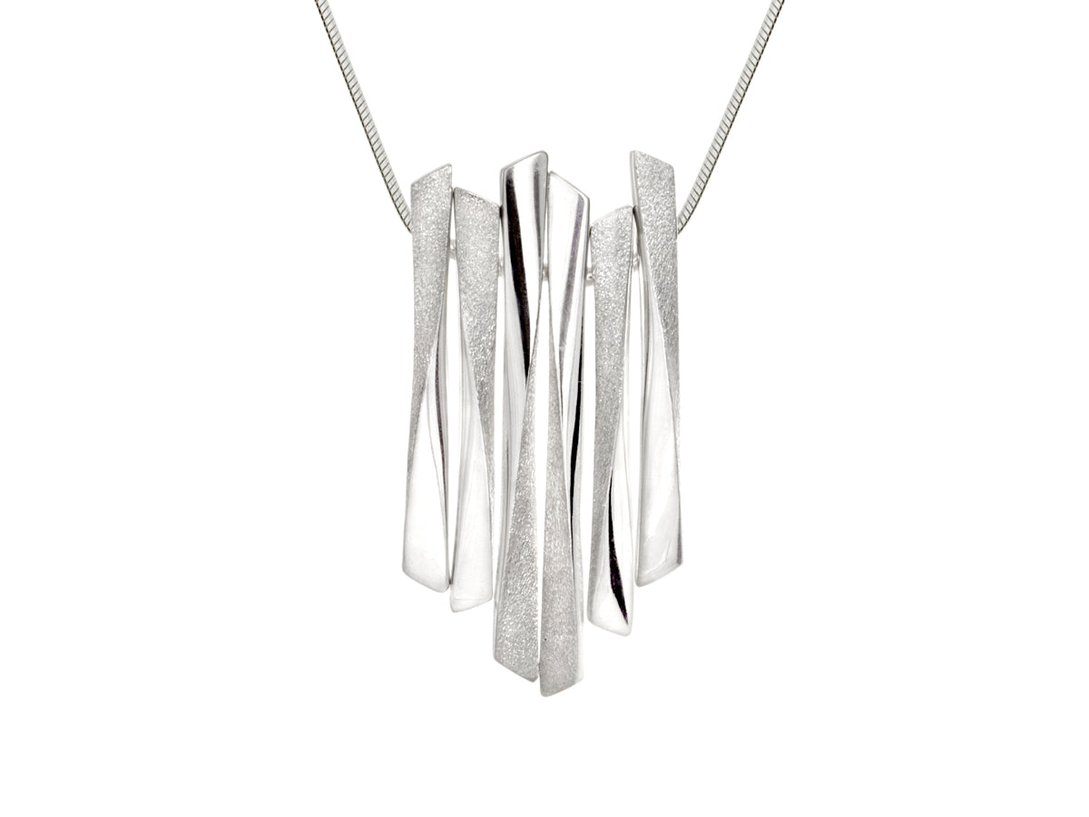 Pamela Lauz Grass Twist Multi Bar Silver Necklace