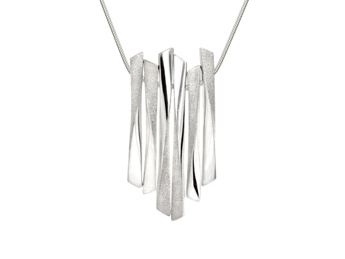 Pamela Lauz Grass Twisted Multi Bar Silver Necklace