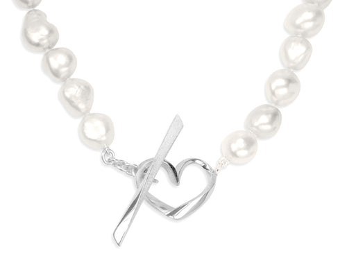 White Baroque Pearls Necklace with Hearts Toggle Clasp