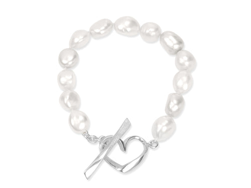 White Baroque Pearls Bracelet with Hearts Toggle Clasp