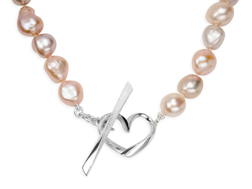 Hearts Pink Baroque Pearl Necklace