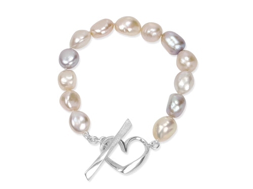 Pink Baroque Pearls Bracelet with Hearts Toggle Clasp