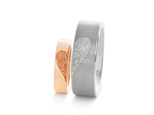 Heart Fingerprint Wedding Bands