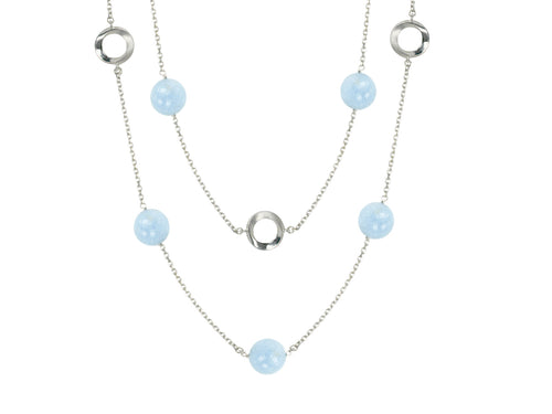Pamela Lauz Aquamarine Convertilbe Station Silver Necklace