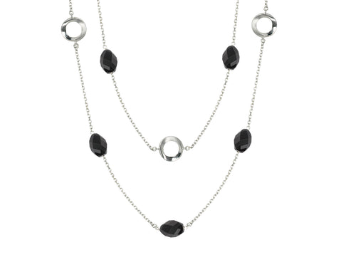 Pamela Lauz Infinity Onyx Convertible Station Silver Necklace