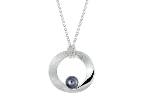 Pamela Lauz Infinity Open Circle Black Pearl Necklace