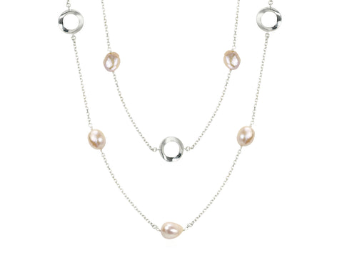 Pamela Lauz Infinity Pink Pearl Convertible Station Necklace