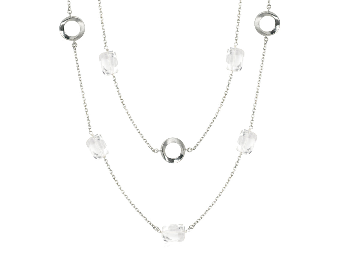 Pamela Lauz Infinity Rock Crystal Quartz Convertible Station Silver Necklace