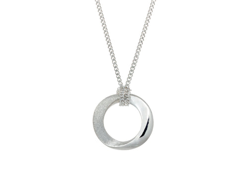 Pamela Lauz Infinity Small Open Circle Silver Twist Necklace