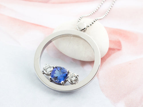 Sculptural Tanzanite Diamond Pendant