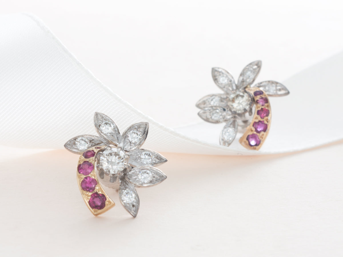 Diamond and Ruby Flower Earrings