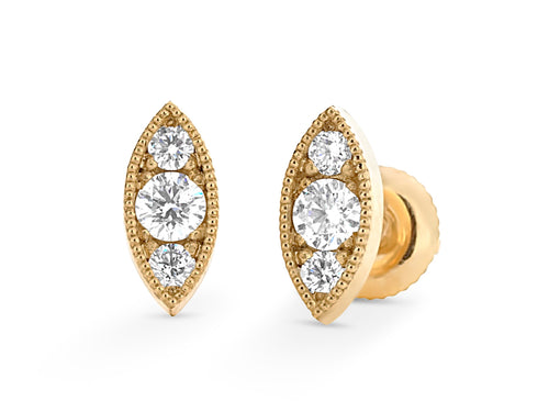 Vintage Diamond Marquise Stud Earrings