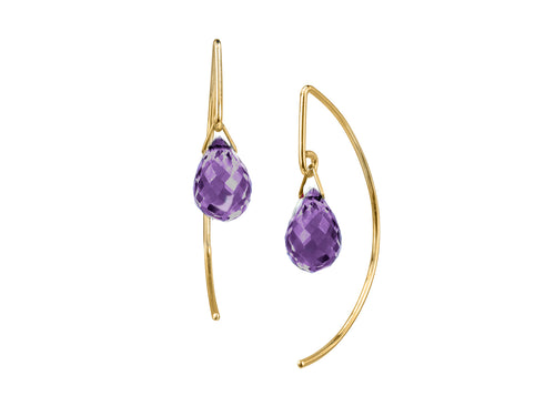 Lantern Amethyst Simple Dangle Earrings