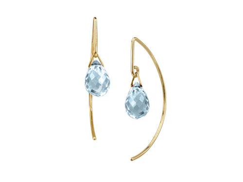 Pamela Lauz - Lantern Blue Topaz Arc Dangle Gold-filled Earrings