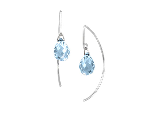 Pamela Lauz - Lantern Blue Topaz Simple Dangle Silver Earrings