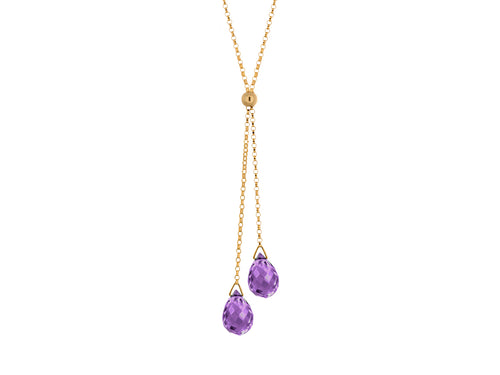 Pamela Lauz - Lantern Purple Amethyst Dainty Lariat Necklace Gold
