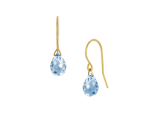 Pamela Lauz - Lantern Blue Topaz Hook Dangle Earrings Gold