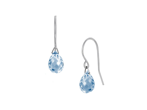 Pamela Lauz - Lantern Blue Topaz Hook Dangle Earrings Silver
