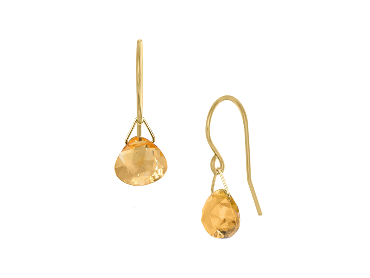Pamela Lauz - Lantern Yellow Citrine Hook Dangle Earrings Gold