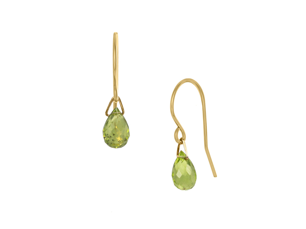 Pamela Lauz - Lantern Lime Green Peridot Hook Dangle Earrings Gold