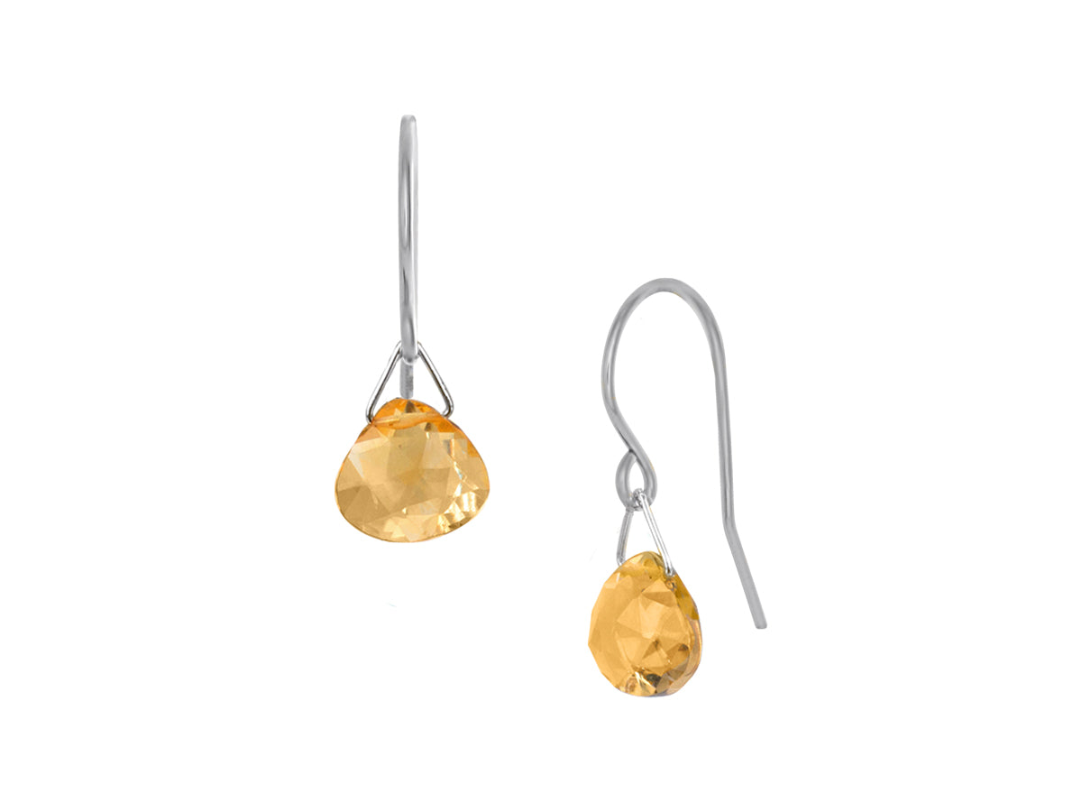 Pamela Lauz - Lantern Yellow Citrine Hook Dangle Earrings Silver
