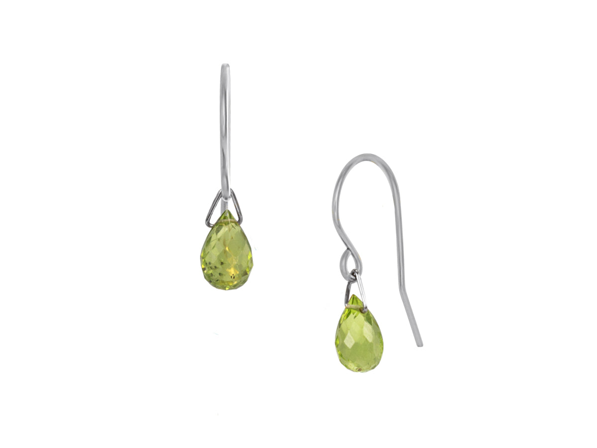 Pamela Lauz - Lantern Lime Green Peridot Hook Dangle Earrings Silver