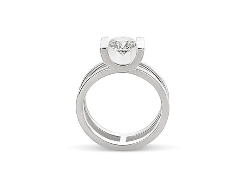 Hand-Engraved Diamond Engagement Ring