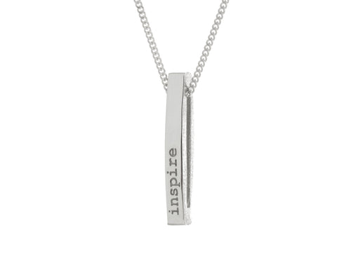 Mantra Silver Gold Inspirational Motivational Bar Necklace - Inspire Choose