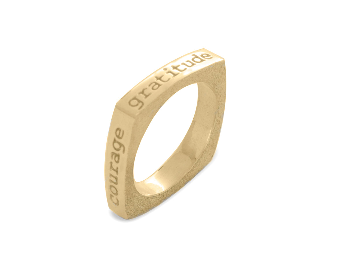 Mantra Inspirational Meditation Square Ring - Joy Gratitude Hope Courage