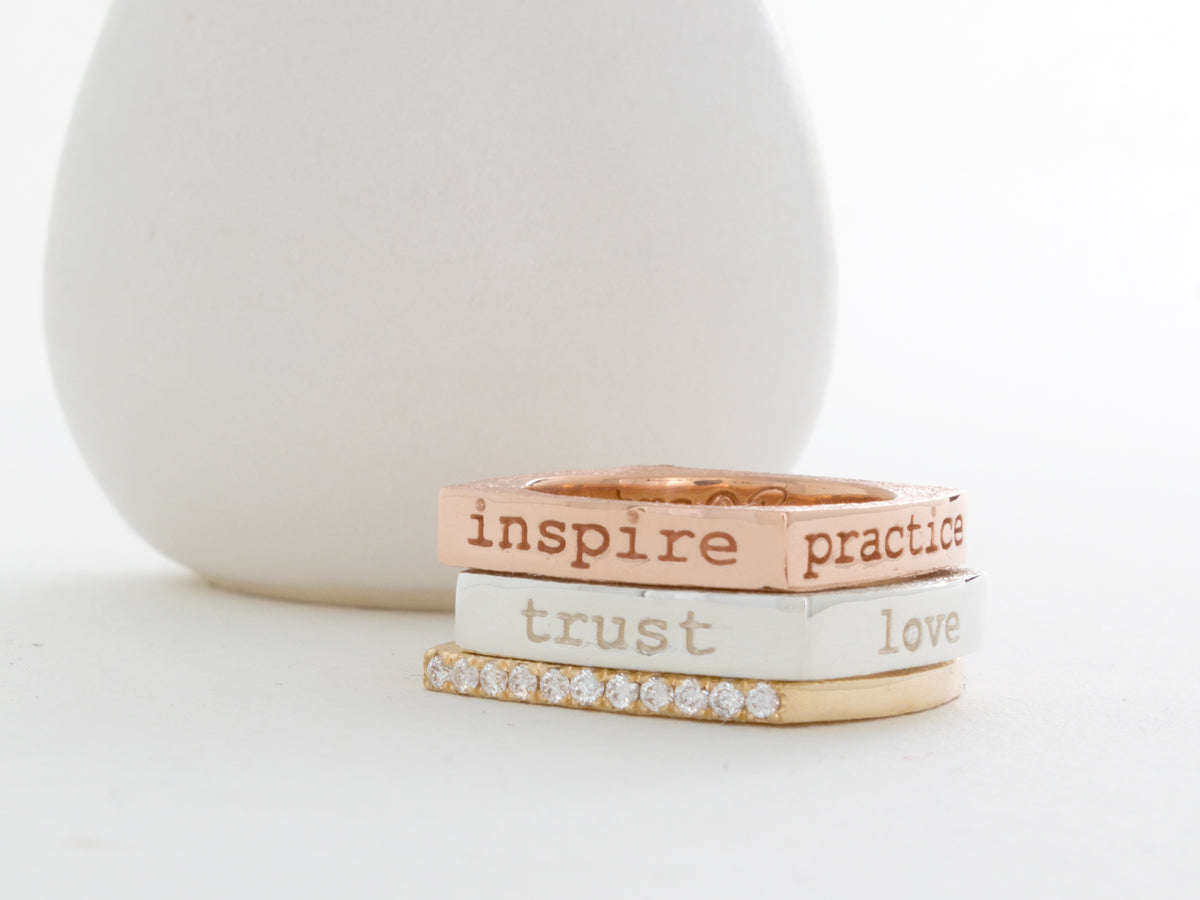 Mantra Inspirational Meditation Square Ring - Love Trust Value Respect
