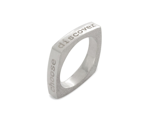 Mantra Inspirational Meditation Square Ring - Inspire Choose Practice Discover